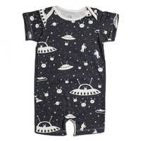 Black Outerspace Summer Organic Romper by Winter Water Factory