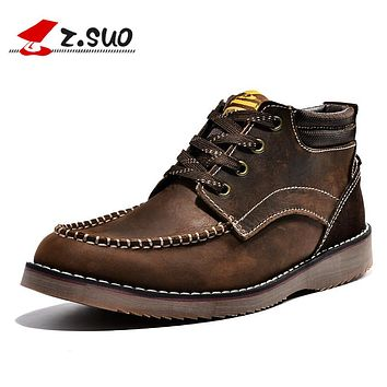 Outdoor Men Boots Autumn Spring Genuine Leather Casual Short Boots Lace-up Handmade Tooling Boots