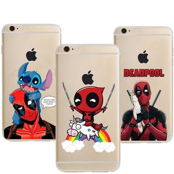 Funny Deadpool Riding Unicorn Clear Soft TPU Phone Case for iPhone 5 5S SE 6 6s Plus 7 7 Plus Phone Cover for iPhone X 8 8Plus