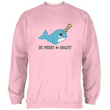 Christmas Narwhal Be Merry and Bright Mens Sweatshirt