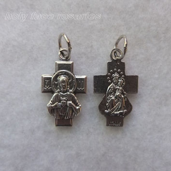 Lot of 2 Sacred Heart Jesus Our Lady of Mt Carmel Scapular Cross Silvertone Silver Oxidized Metal Rosary Crucifix Religious Pendant Charm