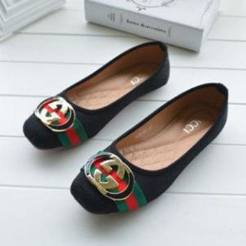 GUCCI Women Fashion Low-Heeled Shoes Flats Shoes
