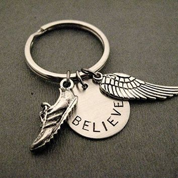 RUN BELIEVE FLY Key Chain - Pewter Running Shoe Charm, Hand Stamped Round Nickel Silver BELIEVE Pendant, Pewter Wing