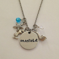 "Disney inspired Little Mermaid necklace ""snarfblat"" Ariel hand stamped swarovski crystals charms"
