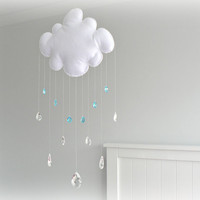 Rain Cloud mobile - baby mobile - crystal mobile - sun catcher - clear and blue crystal rain drops - Nursery Decor