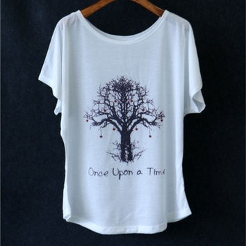 summer women's t-shirt wishing tree 3D printing bat sleeve T-shirt (Color: White)