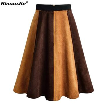 HimanJie Women Spring Winter Midi Skirt High Waist Faux Suede Stitching A-Linen put on a large patchwork Hit color Skirt Autumn