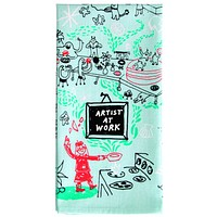 Artist at Work Dish Towel in Blue