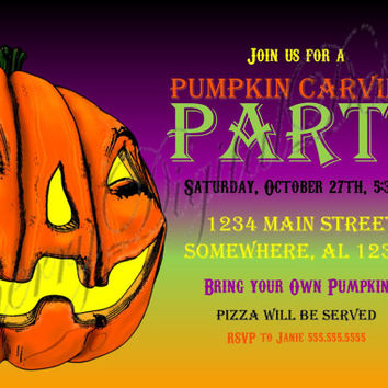 Halloween Pumpkin Carving Printable Custom Party Invitation. Pumpkin Carving Party. Halloween Party Invitation. Purple, Green Black & Orange