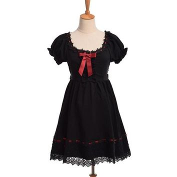 Japanese White/Black Cute Princess Style Red Ribbon Big Bow Short Sleeve Lolita Lace Dresses