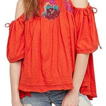 Free People Fast Times Embroidered Cold Shoulder Top Large
