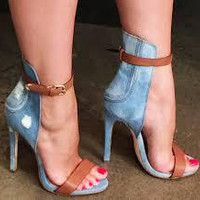 Denim High Heel Belt Buckle Sandal
