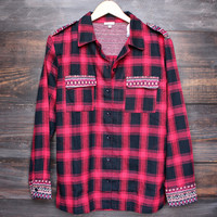 all plaid out button up flannel in red + black