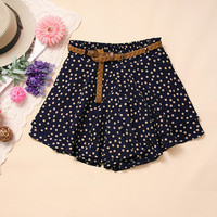 Fashion dot chiffon mini skirt and belt