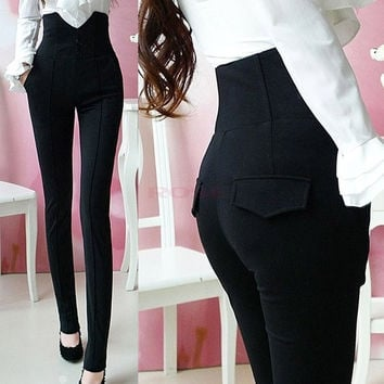 2014 Ladys Black High Waist single-breasted pencil pants Jeans clothes SV004623 = 1745483012