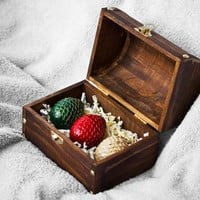Dragon Eggs Ornaments in Dark Wooden Chest -- (Set of 3) Handmade Game of Thrones inspired Eggs