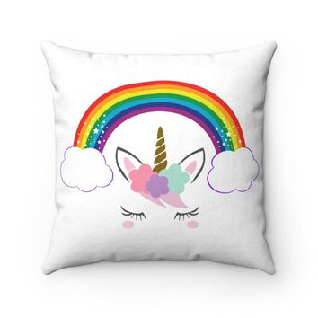 Rainbow Unicorn Faux Suede Square Pillow, Unicorn Party, Gift For Her, Popular Unicorn, Kids Unicorn, Unicorn Kids Room, Unicorn, Rainbow