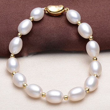 Bracelet Pearl Jewelry Natural Freshwater Pearl Plunger Buckle Bracelet Sterling Silver