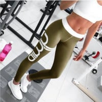 Women Activewear sexy cut exercise Leggings fall light gray pink pants waist fashion printing leggings Slim pants Army green