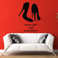 Quote Girl Woman Shoes Heels Fashion Wall Decal Vinyl Sticker Wall Decor Home Interior Design Art Mural M970