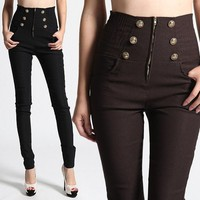 TheMOGAN Smocked HIGH WAIST PANTS Zipper Button Accent Stretch Skinny Trousers