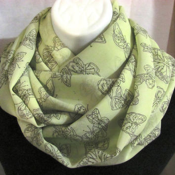 Green Butterfly Print Infinity Scarf by GBSCreations on Etsy