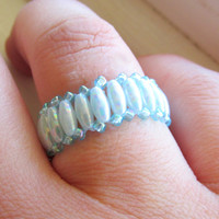 Beaded Ring, Bridal Accessory, Blue Ring, Beaded Blue Ring, Wedding Accessory, Bridesmaids Gift
