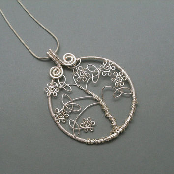 Celtic Tree of Life Pendant Necklace, Silver plated  Wire Wrapped Jewelry