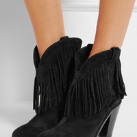 Saint Laurent | New Western fringed suede ankle boots | NET-A-PORTER.COM