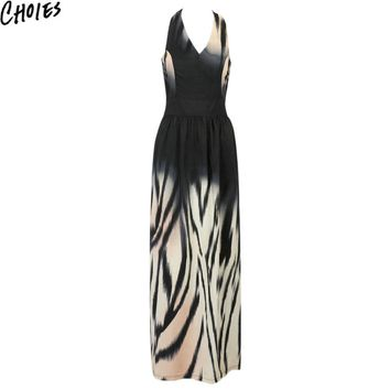 Women Multicolor V Neck Tiger Stripe Print Racer Back Sexy Slim Maxi Dress Summer Fashion Long Elegant Club Beach Dresses