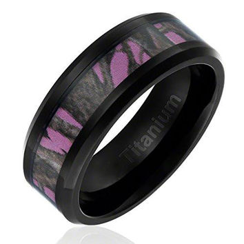 8MM Titanium Ring Wedding Band Black Plated with Camouflage on Pink Background Inlay Beveled Edges | FREE ENGRAVING