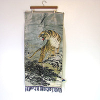 STOREWIDE SALE... Vintage tiger velveteen tapestry wall hanging