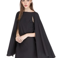Nadya Little Black Cape Dress