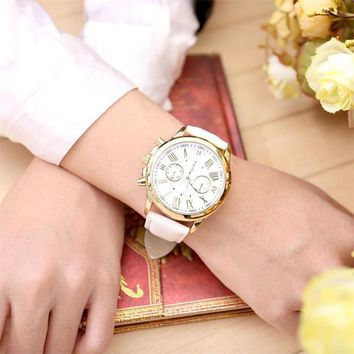 Roman Numerals Faux Leather Analog  Wrist Watch