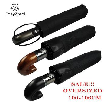 Men's Automatic Windproof Leather Curved Handle Umbrella