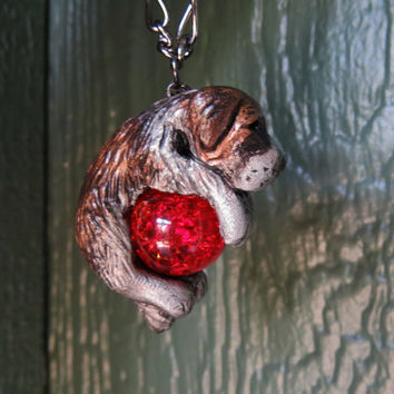 Saint Bernard Necklace Custom Polymer Clay Handmade