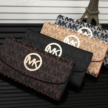 """Michael Kors"" Women MK Purse Fashion Metal Logo Letter Button Long Section Three Fold Wallet Handbag"