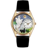SheilaShrubs.com: Women's Halloween Ghost Black Leather Watch C-1220010 by Whimsical Watches: Watches
