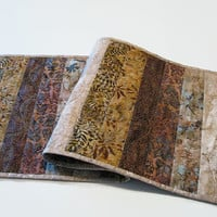Quilted Batik Table Runner, Earth Colors