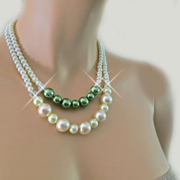 Green Weddings Ivory Pearl Crystal Necklace, Bridesmaids Gift Jewelry