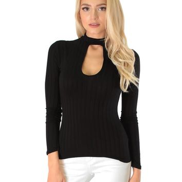 Lyss Loo Glamorous Ribbed Black Long Sleeve Cut-Out Top