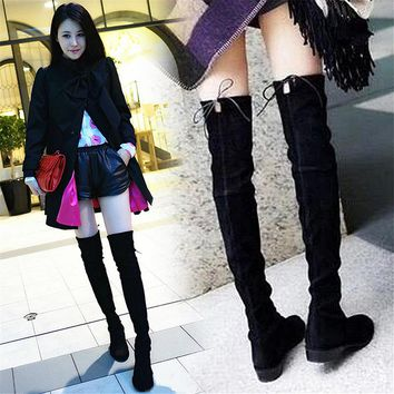 2017 autumn and winter new flat over the end of the knee was thin and tall tube elastic women's boots tide