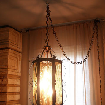 60s VINTAGE MOROCCAN LANTERN Hanging Lamp Fabulous Mid Century Mood Lighting Modern Bohemian Global Eclectic Home Decor: Swag, Amber, Glass