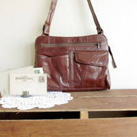 vintage leather messenger bag in mahogany brown by Vintagefix