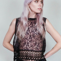 Jennifer -  Storm grey muscle shirt with black lace trim fringed cropped