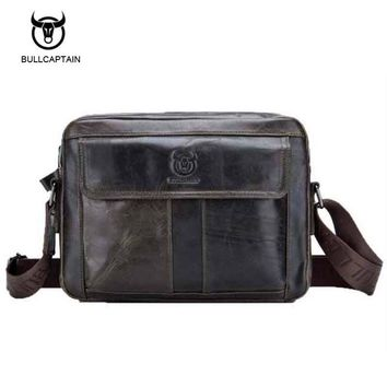 Bullcaptain 2017 New Arrival Genuine Leather Bags For Men Wax Leather Shoulder Bag Satchel Briefcase Portfolio Men's Bag