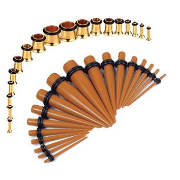 BodyJ4You Gauges Kit Brown Tapers Gold Plugs Steel 14G-00G Stretching Set 36 Pieces
