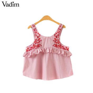 Vadim women sweet ruffles floral embroidery shirts adjustable strap sleeveless blouse ladies casual European style tops WT475