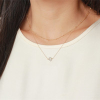 Delicate herkimer diamond charm or Minimal raw crystal necklace - Perfect short layering necklace