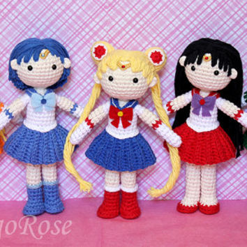 Sailor Mercury Plush Amigurumi Doll (Crochet Pattern Only, Instant Digital Download)